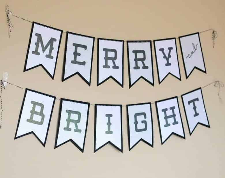 use this free merry and bright christmas banner printable with coredinations glitter prints for