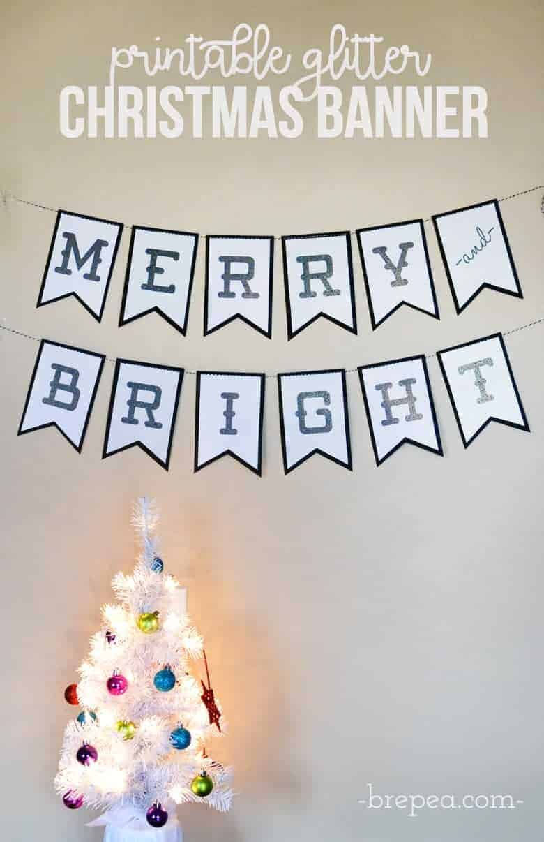 photograph relating to Printable Christmas Banner known as Merry And Vibrant Glitter Xmas Banner + Absolutely free Printable