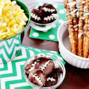 Football Party Food: Chocolate Covered Potato Chip Footballs