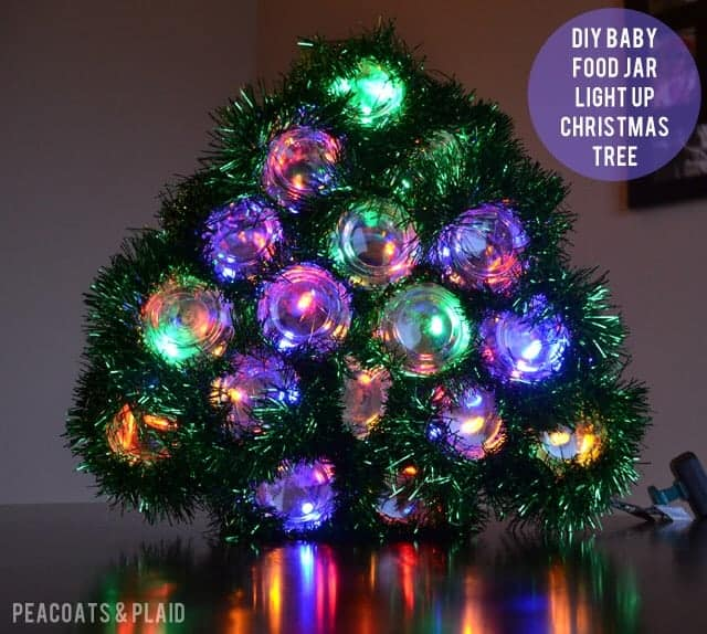 Baby Food Jar Crafts Light Up Christmas Tree Bre Pea